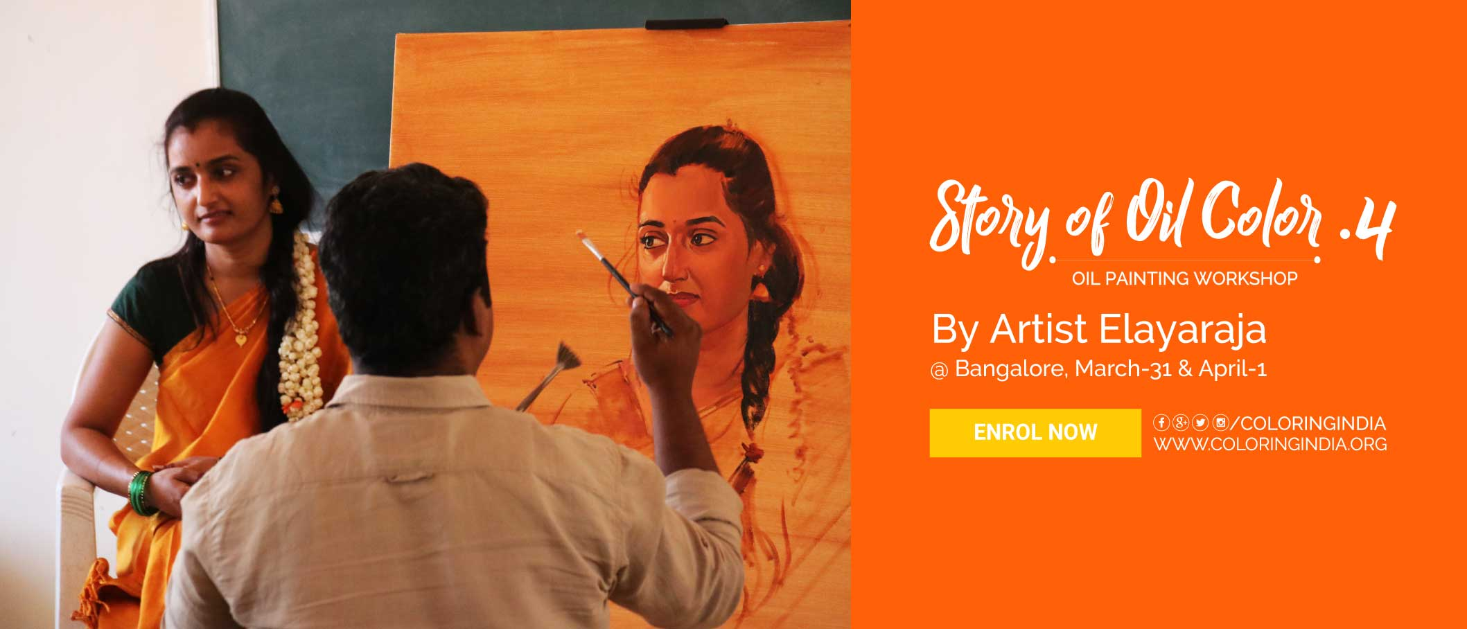 Story of Oil Color 4 – Oil Painting Workshop Bangalore by S.Elayaraja